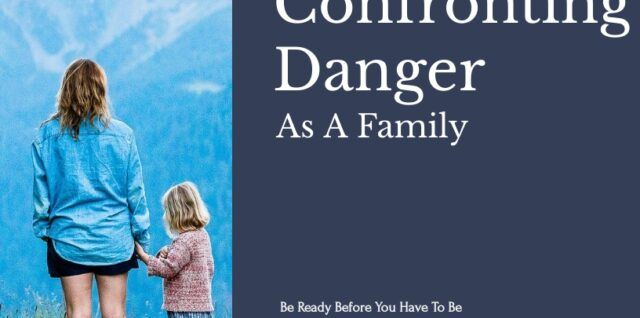 Cover for Confronting Danger As A Family, picture fo a woman with a child in the mountains. Blue cover, with title and author.