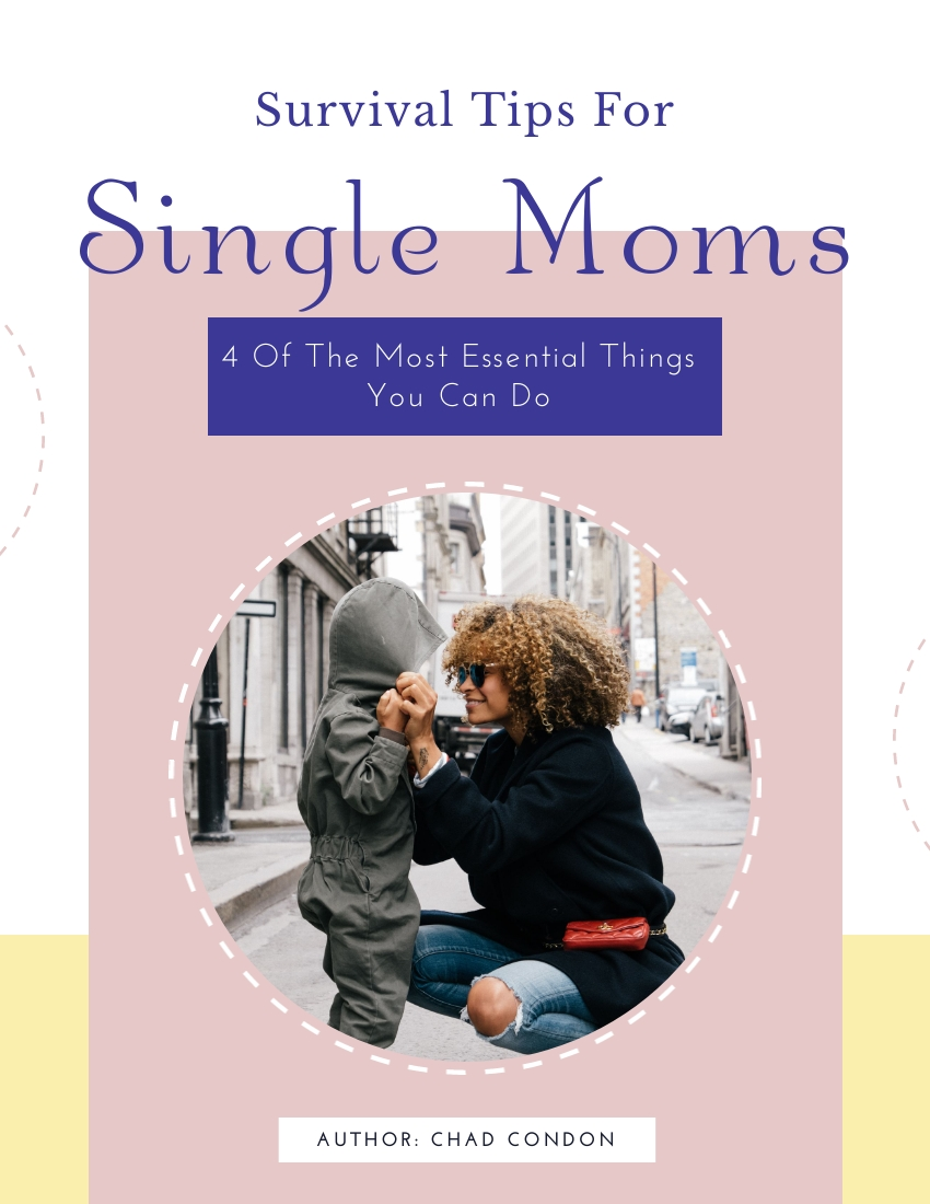 Cover for Survival Tips For Single Moms, blue and grey cover with a mom and child.